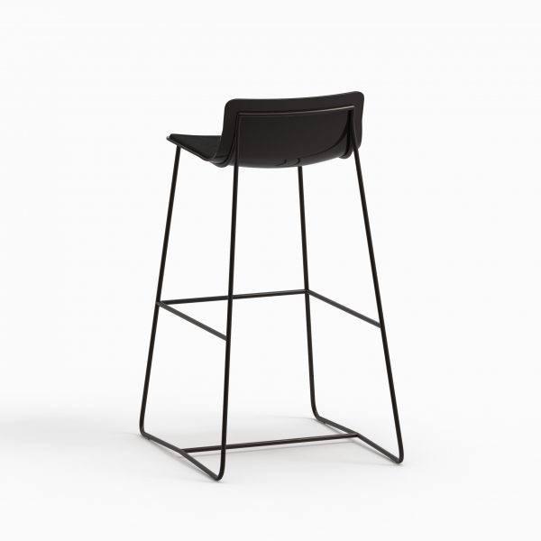 MINA high stool (Black lacq - Black aged leather - Dark chrome leg) - Catalogue FARELL 2017