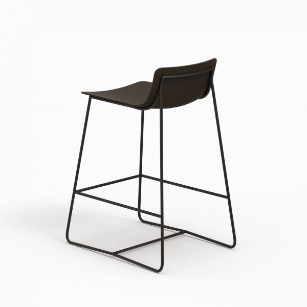 MINA counter stool (Oak stained black - Dark chrome leg)
