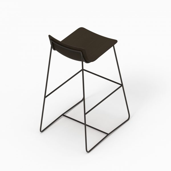 MINA high stool (Oak stained black - Dark chrome leg)