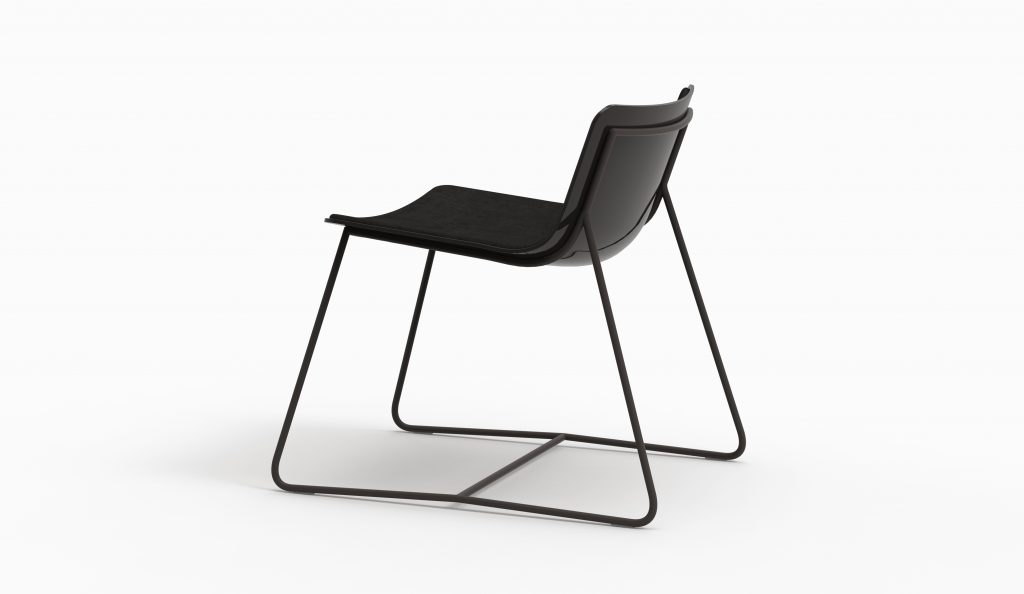 MINA lounge chair (Black lacq - Black aged leather - Dark grey leg)