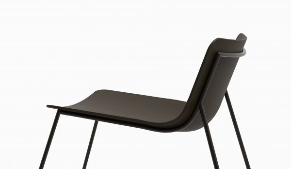 MINA lounge chair (Oak Black - Dark chrome leg) axo lat zoom - Catalogue FARELL 2017