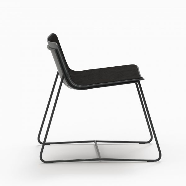 MINA Lounge chair - Black Soft - Black leather