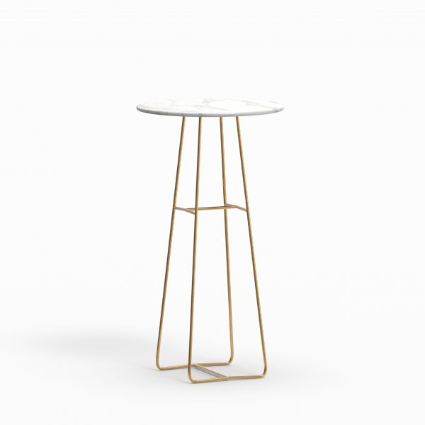 MINA high table - Marble Calacatta - Brass
