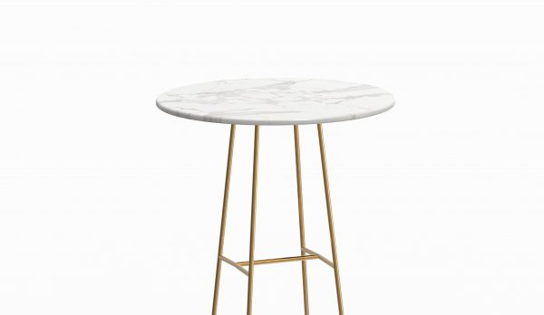 MINA high table - Marble Calacatta - Brass zoom up