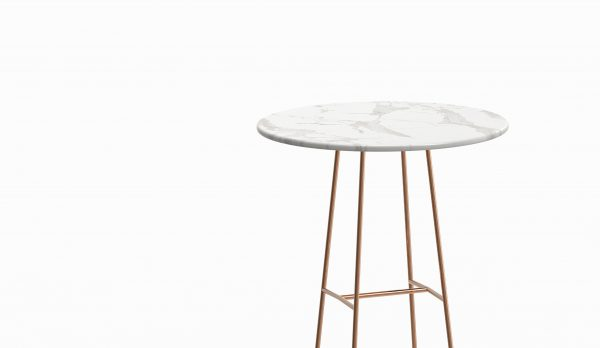 MINA high table - Marble Calacatta - Rose gold zoom up