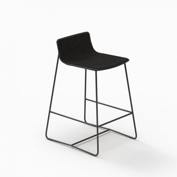 MINA counter stool - Black Soft - Aged Black leather