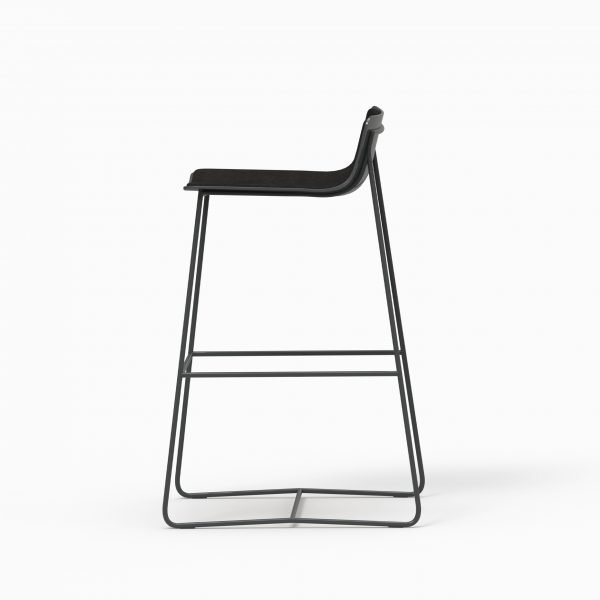 MINA High stool - Black Soft - Aged Black leather
