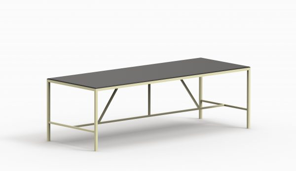 TAU table 2400x900 (Black top - Vainille_ structure) axo