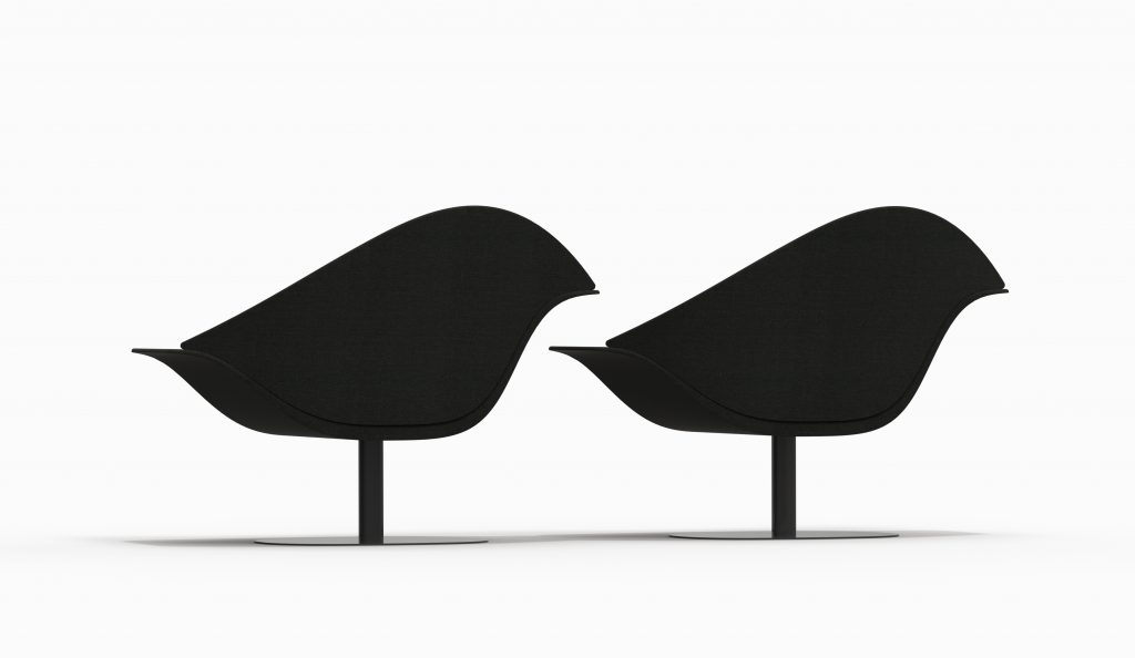 BIRD couple chair - Kvadrat Remix2 873 - Black Soft leg - Catalogue 2018