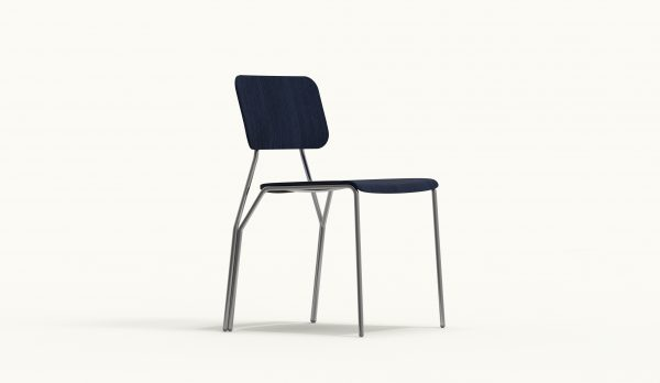 Y chair - FARELL - Ash stained Blue - Polished Chrome legs_axo front down
