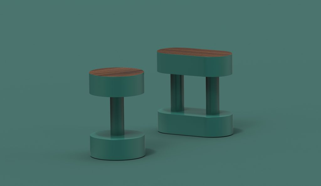 BOBBIN Couple Side Table - Green Leaf - Palisander