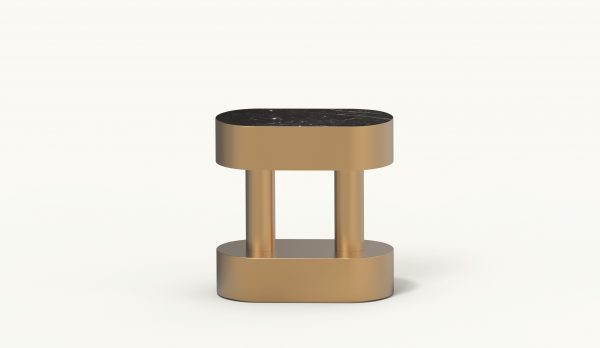 BOBBIN oval side table - Gold - Black Marquina marble