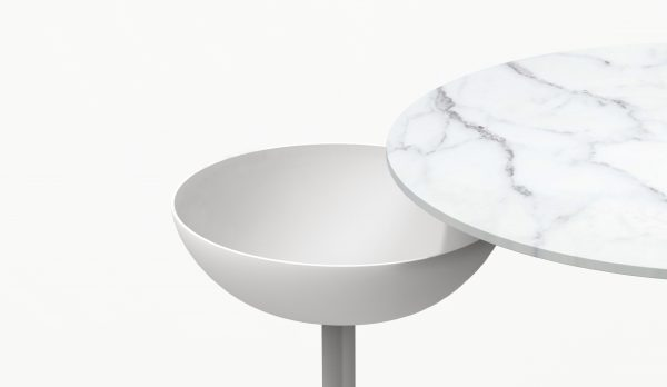 ESCAL White Side Table - White steel matt - Carrara marble - White bowl