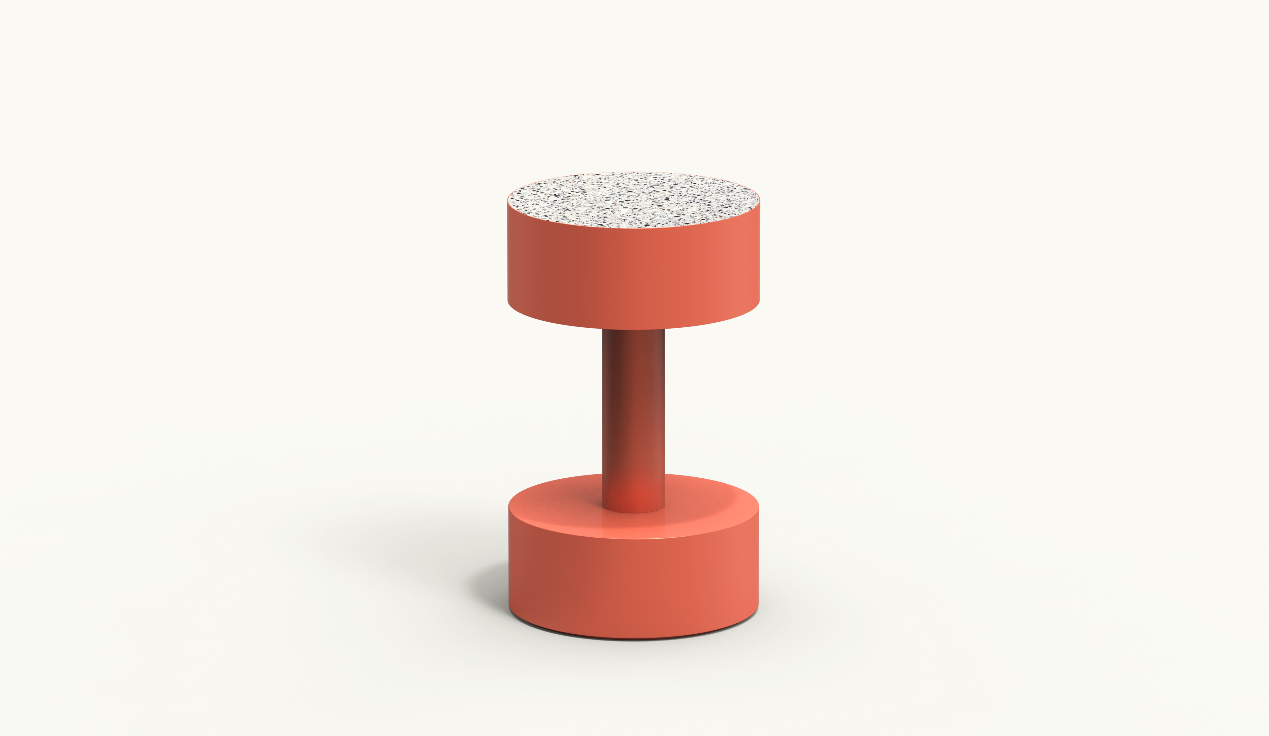 BOBBIN Circular Side Table - Coral - Krion Antico Bianco