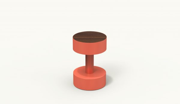 BOBBIN Circular Side Table - Coral - Palisander wood