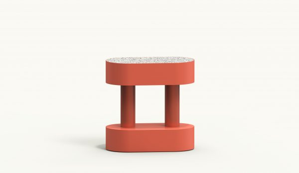 BOBBIN Oval Side Table - Coral - Krion Antico Bianco
