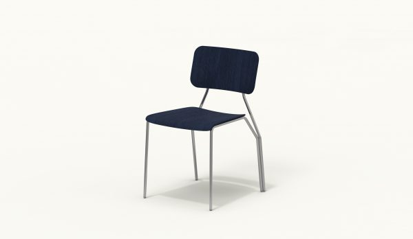 Y chair - FARELL - Ash stained Blue - Polished Chrome legs
