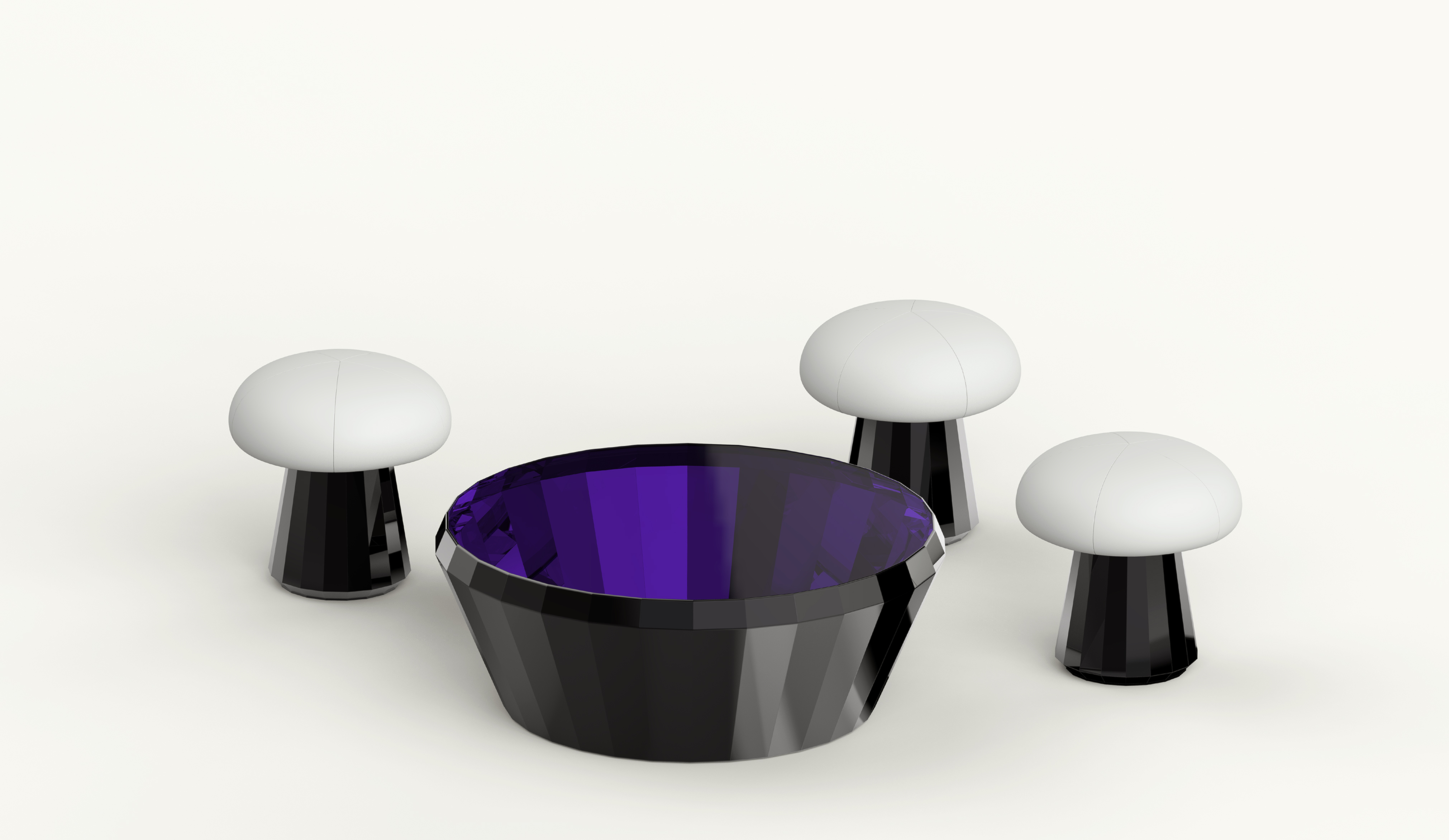KALYDO low table & 3 DUB stool Black version