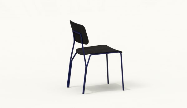 Y chair - FARELL - Ash stained Black - Blue Klein legs_axo rear up