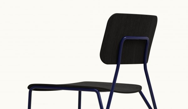 Y chair - FARELL - Ash stained Black - Blue Klein legs_axo rear zoom