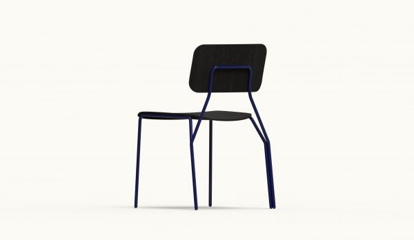 Y chair - FARELL - Ash stained Black - Blue Klein legs_axo2 rear down