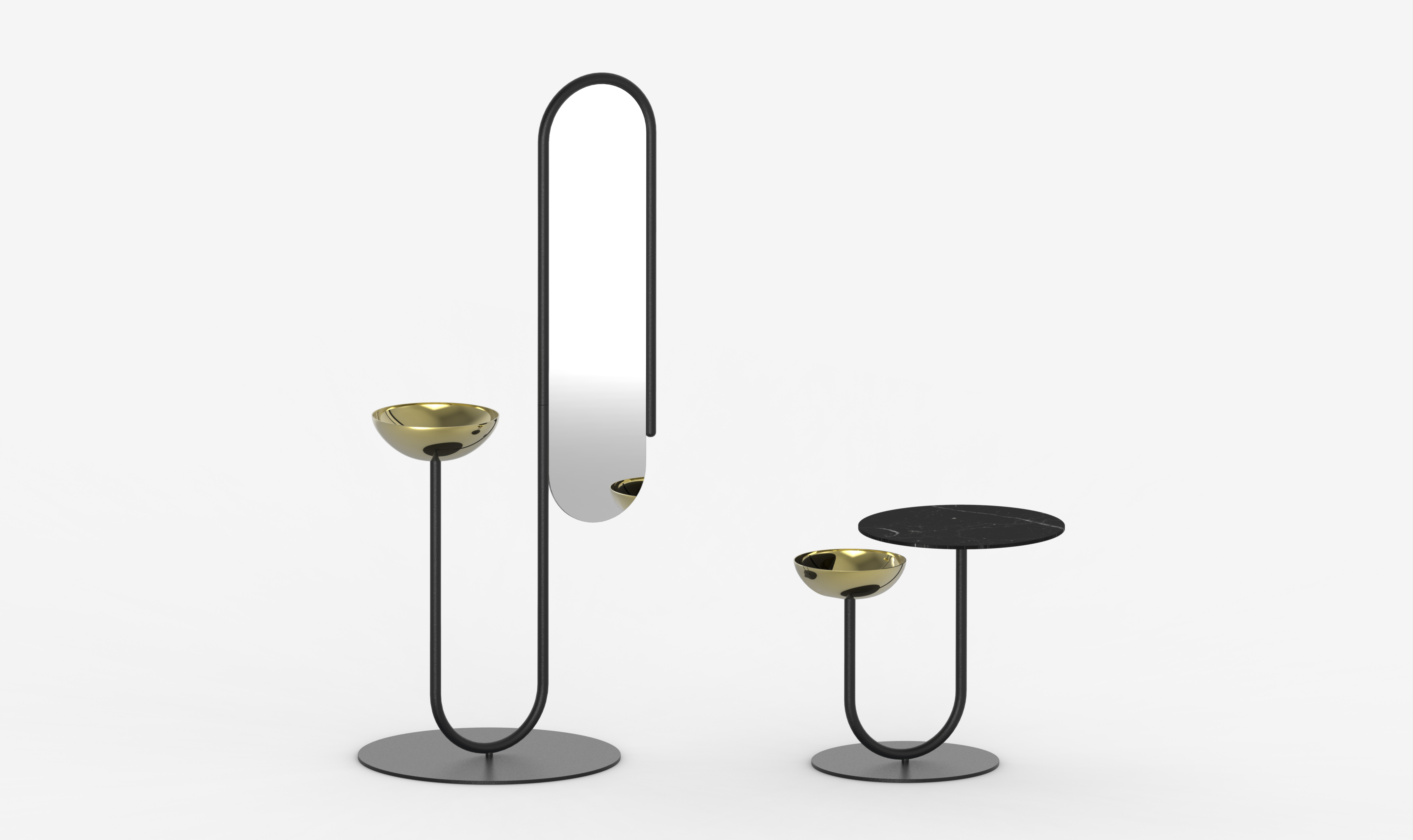 MYRA Mirror & ESCAL Side table - Black version